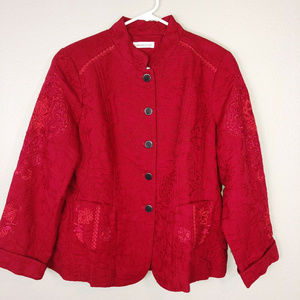 Coldwater Creek Red Embroidered Jacket Sz 16